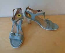 Ecco Sculptured 65 T-Strap Sandals Leather Ice Green Heels Size 40 US 9 NEW