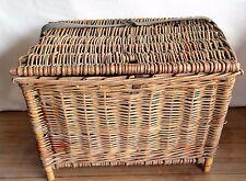 Vintage English Wicker Fishing Basket Creel Rectangular Shape Handmade England