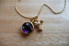 ROUND PURPLE AMETHYST 925 SILVER YELLOW GOLD CHARM BIRD NECKLACE 18INS