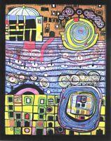 Hundertwasser Bild Die Vier Einsamkeiten Poster Kunstdruck Druck 90x70cm