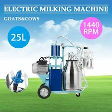 25L Electric Milking Machine For Goats Cows W/Bucket 2 Plug 12Cows/hour mps