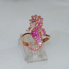 18k FEMININE ROSE GOLD RUBY SAPPHIRE DIAMOND SEAHORSE SEA HORSE NATURE RING