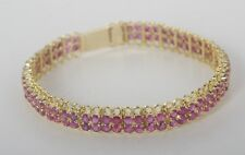 Double-Row Tennis Bracelet with 10Cts of Rubies and 15Gms of 14K Yellow Gold