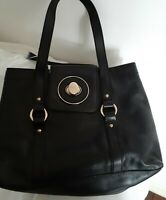 Genuine Oroton black leather handbag tote gold hardware signature lining exc con