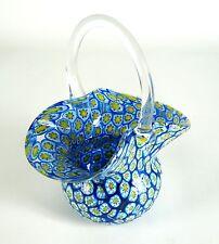 Murano vidrio cáscara/cesta Millefiori a mano Italy glass bowl/Basket