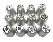 JJMG New 12Russian Large Piping Tips Set Icing Nozzles Fondant Cakes & Pastries