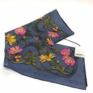 GUCCI 494604 FOULARD FLOWERWEBBY 100% SILK SCARF SHAWL SKY BLUE -NWT