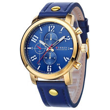 CURREN Original Brand Men's Sports Waterproof 3 dials Leather Strap Watch 8192