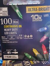 Home Accents 100 Mini Multi Color Continuous On Heavy Duty LED Lights New