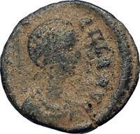 AELIA FLACILLA Theodosius I Wife 383AD Ancient Roman Coin VICTORY CHI-RHO i67710