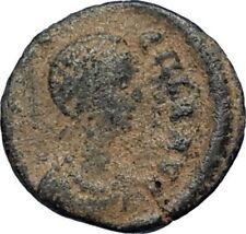 Aelia flacilla Teodosio I esposa 383AD antigua moneda romana victoria Chi-rho i67710