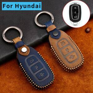 New Leather Key Fob Case Cover Holder For Hyundai Santa Fe Elantra Accent Verna