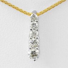 "0.50 Ct VS2 Round Diamond Five Stone Necklace Pendant 16"" Chain 14k Gold Yellow"
