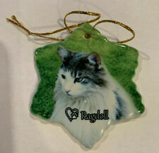 Ragdoll Cat Porcelain Star Shaped Christmas Ornament New