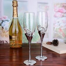Creative Wedding Couple Heart Crystal Champagne Goblet Wine Round Glass Gift 2pc