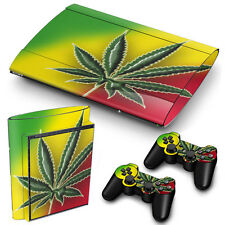 PS3 SuperSlim PlayStation 3 Skin Stickers PVC for Console & 2 Pads Cannabis