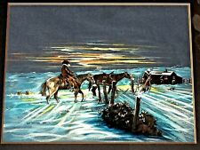 VNG '87 ORIGINAL PASTELS ON PAPER PAINTING COWBOYS HORSES WINTER BY TOM SHEPPARD