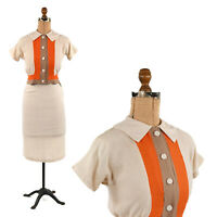 Vintage 50s Soft Rayon Tan + Orange Mid Century Colorblock Two Piece Dress Set