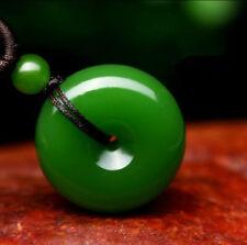 Natural Green Jade Doughnut Pendant Lucky Buckle Jadeite Necklace Charm Jewelry