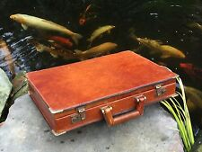 VTG Handcrafted Italian Leather Briefcase Mid century Mod Mad Men Case Computer