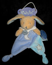 Doudou Babynat Baby'nat Ours / Chat Luminescent plat Etoile Lune Rose 25cms