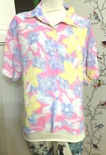 Deborah Barry London Ny 80's Pastel Floral Pink Lilac Yellow White Button Blouse