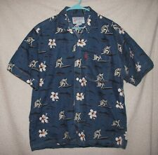 Beach Ray's Men L Button Front Hawaiian Shirt Blue with Surfers and Flowers EUC