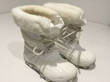 Kids Girls White Fun Snow Winter Padded Fur Lined Boots 29/30 Uk11