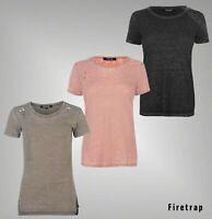 Ladies Firetrap Hole Blackseal Top Distressed Burnout T Shirt Sizes 8-14