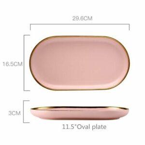 Pink Porcelain Dinner Plate Set Kitchen Ceramic Tableware Food Bowl Cutlery Sets
