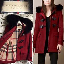 Burberry Coat Red Wool Duffle Coat Jacket Fur Trim UK 10 RRP £995 BURBERRY BRIT
