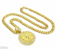 """Mens Gold Plated Lion Face Clear Eyes Iced Out Pendant 30"""" Necklace Cuban Chain"""