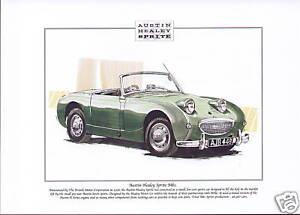 AUSTIN HEALEY SPRITE Mk1 - Fine Art Print - Classic Frogeye sports car image BMC