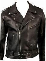 Mens Classic Brando Motorcycle Motorbike Biker Leather Jacket Black All Size NEW