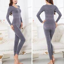 Women Winter Pajama Long Sleeve Thermal Warm Underwear Tops+Pants Long Johns Set
