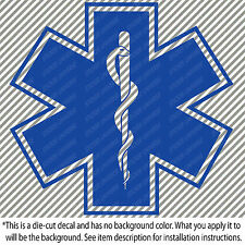 "BLUE STAR OF LIFE Symbol 4.75""X5"" Vinyl Die Cut Decal Sticker EMS EMT Ambulance"