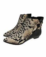 Derek Lam 10 Crosby Leather Calf Hair Booties Animal Print Womens Size 8 Boots