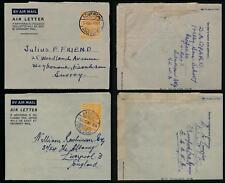 GOLD COAST KG6 AEROGRAMMES 6d AFRANSI + ADUKROM to GB FARNHAM + LIVERPOOL 1951-3