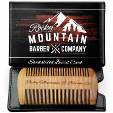 Rocky Mountain Barber Company Beard Comb - Natural Organic Sandal Wood for Hair