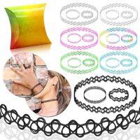 Tattookette Set + Geschenkbox Halskette Ring Armband Henna Choker Dehnen Stretch