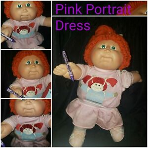 1986 CPK Cabbage Patch Kids Red  Poodle Single Pony hair style Portrait Dress