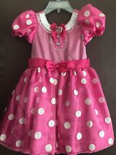NWOT Disney Store Minnie Mouse Pink Dress Deluxe Costume Girls 5/6 5T 6