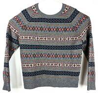 J.Crew Fair Isle Sweater Knit Blue Holiday 100% Lambs Wool Mens Sz L Large Gray