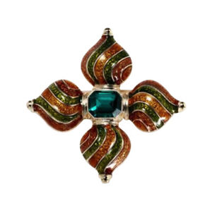 Brooch Pin Cross Style Royal, Stone Green IN Centre