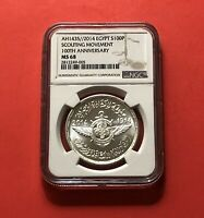 EGYPT- 2014 UNC 200 POUND( SCOUTING 100 TH ANN. ),SILVER GRADED COIN BY NGC MS68