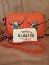 Fossil Top Zip RILEY Leather Crossbody Orange ZB6451971 $168 Dust Bag NWT