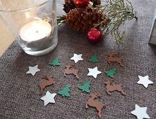 Streudeko Weihnachten Sterne silber Tannenbaum Rentiere Tischdeko Weihnachtsdeko