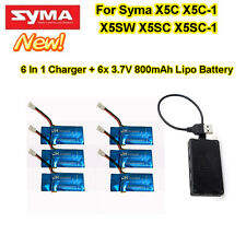 6x 3.7V 800mAh Battery+6in1 Charger Kit For Syma X5C-1 X5SW X5SC Drone Toys