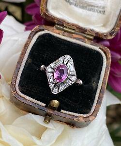 Art Deco Pink Sapphire and Diamond Platinum Ring 0.30ct + 1.10ct