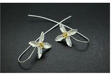 Sterling Silver Four Leaf Clover Flower Long Tassel Drop Earrings Gift Box S6